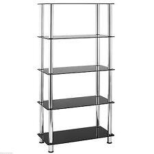 VonHaus 5 Tier Bookshelf Black Glass Shelving Unit Bookcase With Chrome Legs