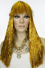 Gold Tinsel Long Straight Costume Fun Color Wigs