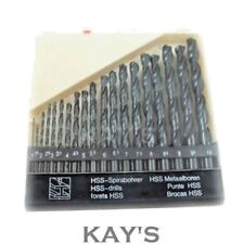 19 PIECE HSS DRILL BIT SET 1mm - 10mm METRIC FOR DRILLING METAL & WOOD WITH CASE