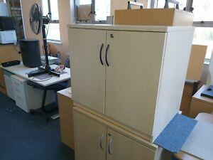 Maple Veneer Cupboard 2 Door Office File Cabinet Storage Unit Freestanding KEY