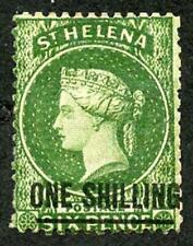 St Helena SG17 1/- corner crease Cat 450 pounds