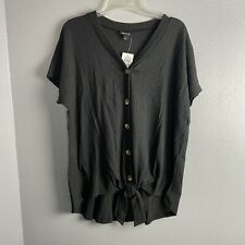 Torrid Size 0 Top Black Short Sleeve Knot Front Boho Casual Soft Plus NEW