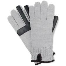 $124 Isotoner Men Gray Black Knit Stretch Smartouch Warm Winter Gloves One Size