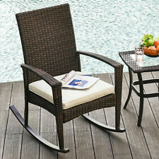 Outsunny Patio Rattan Rocking Chair Bistro Seat Wicker Outdoor Garden w/ Cushion