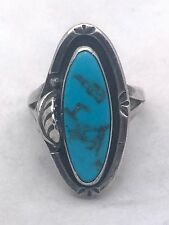 Vintage Sterling Silver Ring Southwest Size 6.25 Tribal Handmade Turquoise Feath