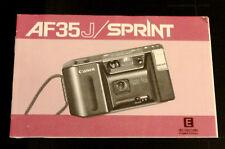 Original Canon AF35J/Sprint 35 mm cámara manual de instrucciones en inglés