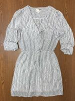 Black White Polka Dot Shirt Dress Women Size Medium Long Sleeve Knee Length