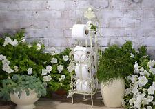 Carta Portarotolo Wc Porta Igienica Vintage Casa Campagna Bianco Stand Metallo