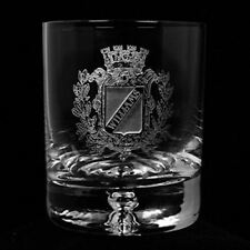 Engraved Crystal Rocks Whiskey, Scotch, Bourbon Glasses, Coat of Arms, Family Cr