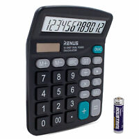 RENUS Electronic Office Calculator for Solar Battery LCD 12 Digit Large Display