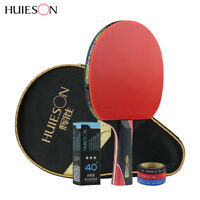 Huieson Carbon Fiber Rubber Table Tennis Racket Ping Pong Paddle + 3 Ball + Bag