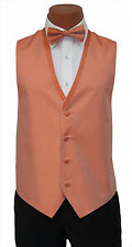 Medium Boys Burnt Orange Diamond Openback Wedding Prom Tuxedo Vest Tie Set