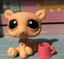 Littlest Pet Shop  Cream Tan Polar Bear BROWN EYES Rare Hasbro LPS Authentic