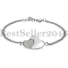 925 Sterling Silver Cubic Zirconia Double Heart Bangle Bracelet For Women Girls