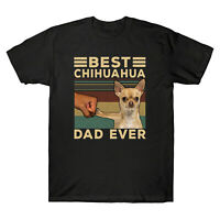 Best Chihuahua Dad Ever Funny Animal Vintage Men's T Shirt Retro Cotton Tee Top