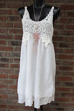 ÉTÉ ROBE AU CROCHET DENTELLE SUPERPOSITION CHASUBLE HIPPIE IBIZA BLANC 36 38