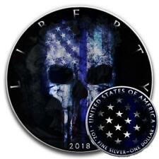 BLUE LINE SKULL PUNISHER 2018 1 oz American Silver Eagle Coin Ruthenium Color