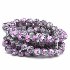 100 Loose Pinky Grey Marbled effect glass Beads 8mm Jewellery Making Crafts