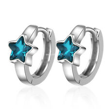 18K Gold Plated Crystal Star Huggie Cute Snap Closure Earrings for Women Jewelry