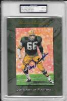 """RAY NITSCHKE SIGNED """"ART OF FOOTBALL"""" CARD~GOAL LINE ART~HALL OF FAME AUTO~4/5"""