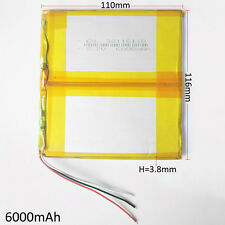 3.7V 6000mAh LiPo Polymer Battery For Power Bank Tablet PC laptop PDA 38116110