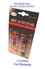 10 ps Assorted Car Auto Truck Motorcycle Mini Blade Fuse 5A 10A 15A 20A 25A 30A