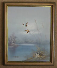 Oil on Board Painting 'Mallards in Flight' by Hartment