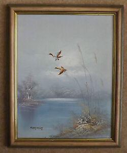 Oil on Board Painting 'Mallards in Flight' by Hartment