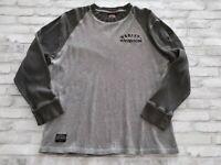 Harley Davidson Syracuse NY Long Sleeve Raglan Waffle Knit Shirt Olive Gray M/L
