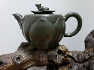 Chinese Yixing Zisha Hand carved Frog & Lotus Teapot Made By Jiang Rong