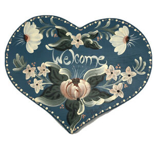"Vintage Wooden ""Welcome"" Heart Tole Hand Painted Blue Florals Susan Shaffer '90"
