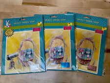 """3 Easter Basket Shrink Wrap 24"""" X 30"""" 4 Accent Ribbons Baskets Clear Blue & Pink"""