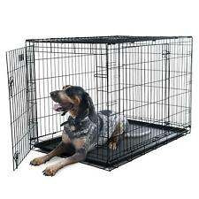 "Double-Door Folding Dog Crate Cage, Large, 42""l Double-Locking Design Animal New"