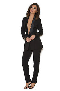 HOUSE OF CB 'Masson' Black Stretch Crepe Tailored Trouser  S 8 / 10 MM 5064