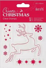 Papermania clear stamp set of 6 Create Christmas Reindeer stars snowflakes