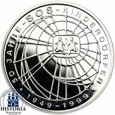 RFA 10 DM 50 ans SOS VILLAGES ENFANTS ARGENT 1999 spéculaire pièce dans münzkapsel