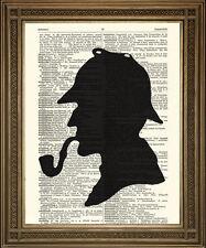 Sherlock Holmes print: détective silhouette, vintage dictionnaire art wall hanging