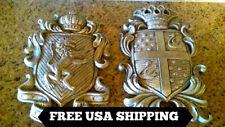 TWO, Shield, Wall Plaque, Old World, Medieval, Lion, Crown, Cross, Fleur de Lis