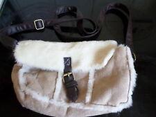 Primark Beige and Cream Faux Suede/Faux Fur Handbag