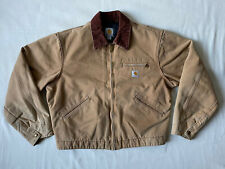 Carhartt J001 BRN Detroit Jacket Blanket Lined Mens Large Brown Corduroy Collar