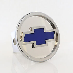 Chevy Blue Fill Chrome Logo Tow Trailer Hitch Cover Plug