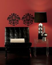 Large Black Damask Design Peel & Stick Appliques RMK1171GM
