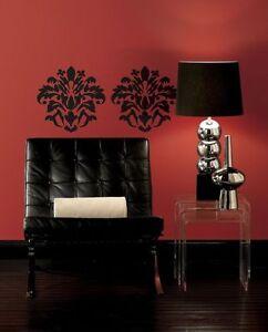 Large Black Damask Design Peel & Stick Appliques RMK1171GM