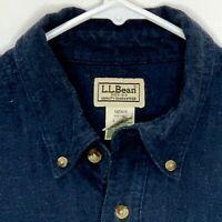 LL Bean Mens Flannel Shirt LS Blue Herringbone Large