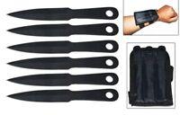 6 Piece Mini Throwing Knife Set w/ Wrist Sheath Black Knives