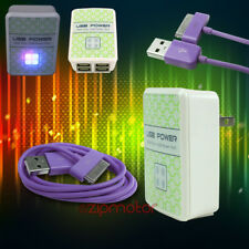 50X 4 USB PORTS HUB WALL ADAPTER+6FT CABLE POWER CHARGER SYNC PURPLE GALAXY TAB