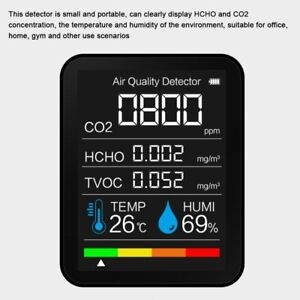 Portable TVOC HCHO CO2 Air Quality Detector Temperature Humidity Tester Monitor