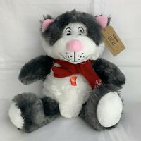 PETSMART Gray White Lucky Kitty Cat 2019 Scarf Squeaker Dog Toy Plush
