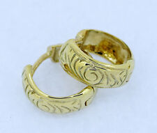 E06-> Genuine 9ct SOLID Yellow GOLD Wide HUGGIES /Hoop Earrings Patterned
