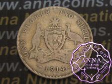Australia 1914 H George V Florin X1, Average Circulated Condition